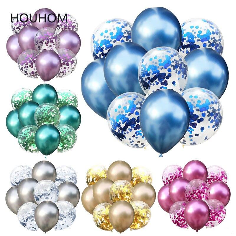 Ballons de mariage or mixtes 10 pièces   Ballons Confetti en métal, décorations de fête danniversaire, fournitures de fête prénatale enfants adultes