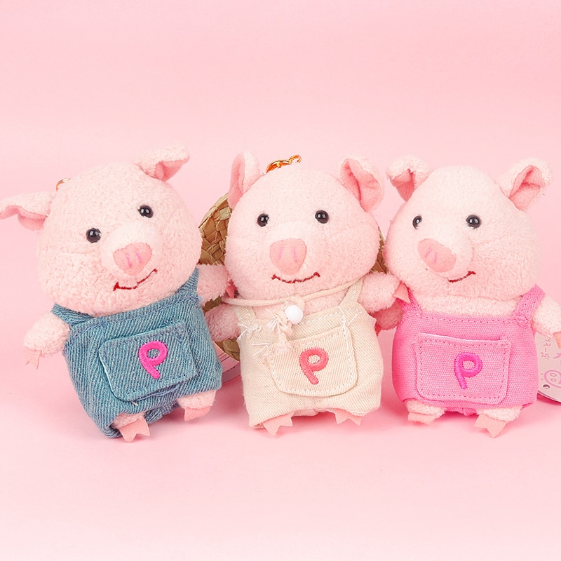 Mini juguetes de peluche cerdo Animal llaveros sombrero de paja de piel sintética pompón llaveros bolso de mano de coche colgante llavero con anilla titular D162