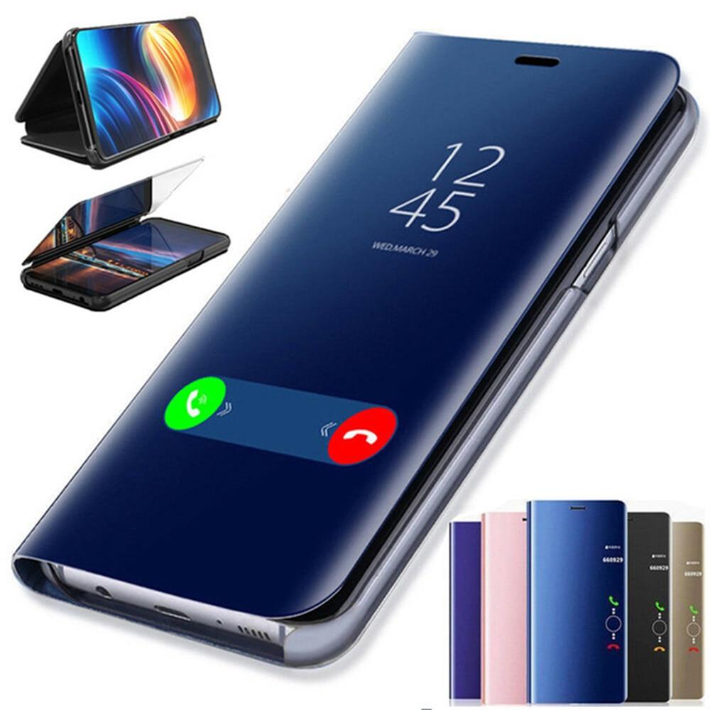 Funda con tapa de espejo inteligente para Huawei P30/P30 Pro/P30 Lite, Funda trasera de cuero para teléfono de lujo transparente, Funda de Vista HuaweiP30 P30Pro P30Lite
