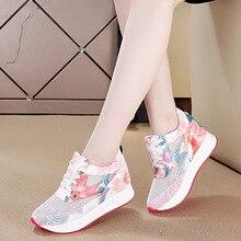 Maille chaussures de sport compensées femme chaussures de voyage évidé en plein air bas chaussures à semelles épaisses respirant Muffin chaussures de marche baskets femmes