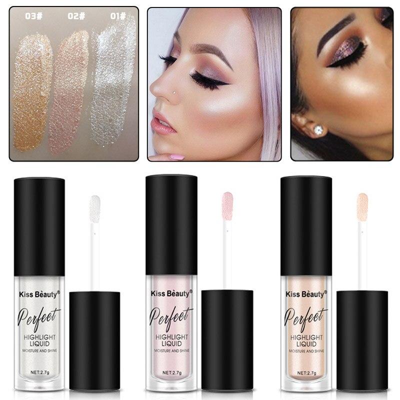 2018 nuevo pigmnetos para maquillaje marca Kiss Beauty resaltador de contorno cosméticos de larga duración cara iluminador con brillo resplandor líquido marcadores de maquillaje