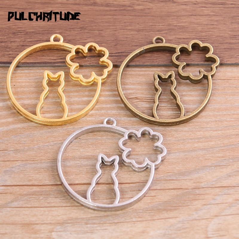 3 pçs três cores liga acessórios de jóias artigo para gato flor charme oco cola em branco pingente bandeja moldura 11c66