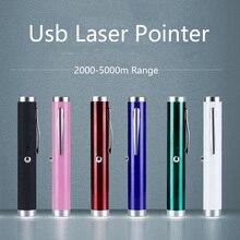 Мини USB перезаряжаемая Зеленая лазерная указка 5 мВт 532 нм яркая Одиночная Зеленая лазерная ручка оптовая продажа