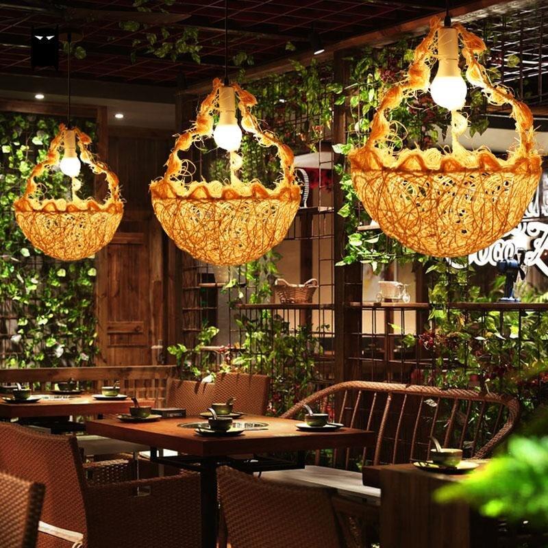 Mimbre cesta de la flor sombra luz colgante romántico rústico arte lámpara de techo Plafon mesa de comedor Sala restaurante E27