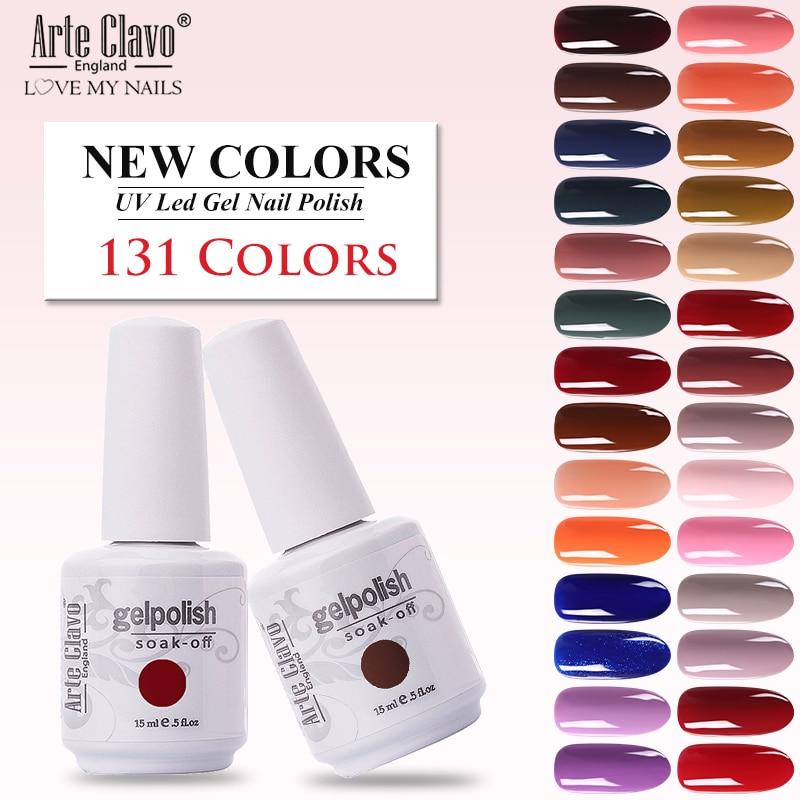 Arte Clavo New 131 Colors 15ml Soak Off Glitter Paint Gel Uv Led Gel Nail Varnish Gel Lacquer Set For Manicure Base Top Coat Nail Gel Aliexpress