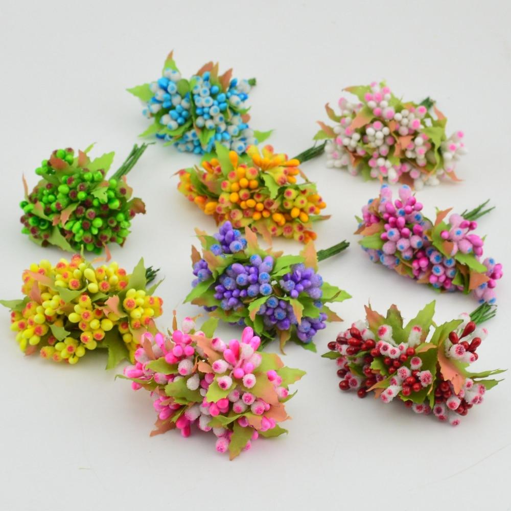 10pcs Mini Berry Stamen Artificial flower for Wedding scrapbook Decoration DIY wreaths craft Flowers New arrivel
