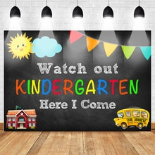 Watch out Kindergarten Photo Backdrop for Photography Children Fist Day of School Background Kinderg