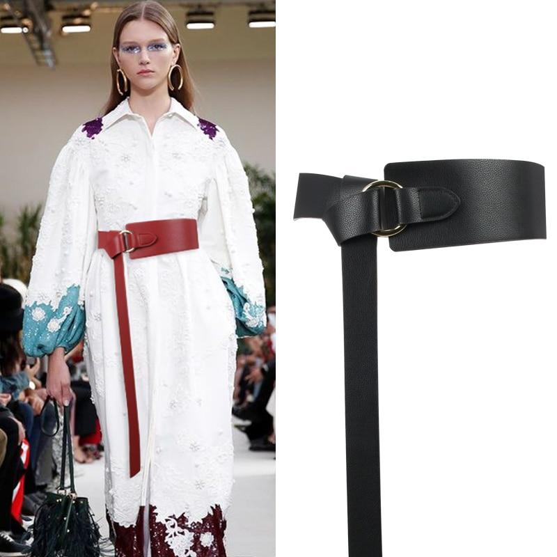 AliExpress - New Black Wide Corset leather Belt Female Tie Obi Waistband thin brown Bow leisure Belts for Women Wedding Dress Waistband lady