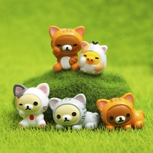 Kawaii Q 5 pièces/ensemble PVC japonais Anime Rilakkuma ours Cosplay Chi chat Action figurine poupée jouets mignon cadeau danniversaire modèle jouet décor