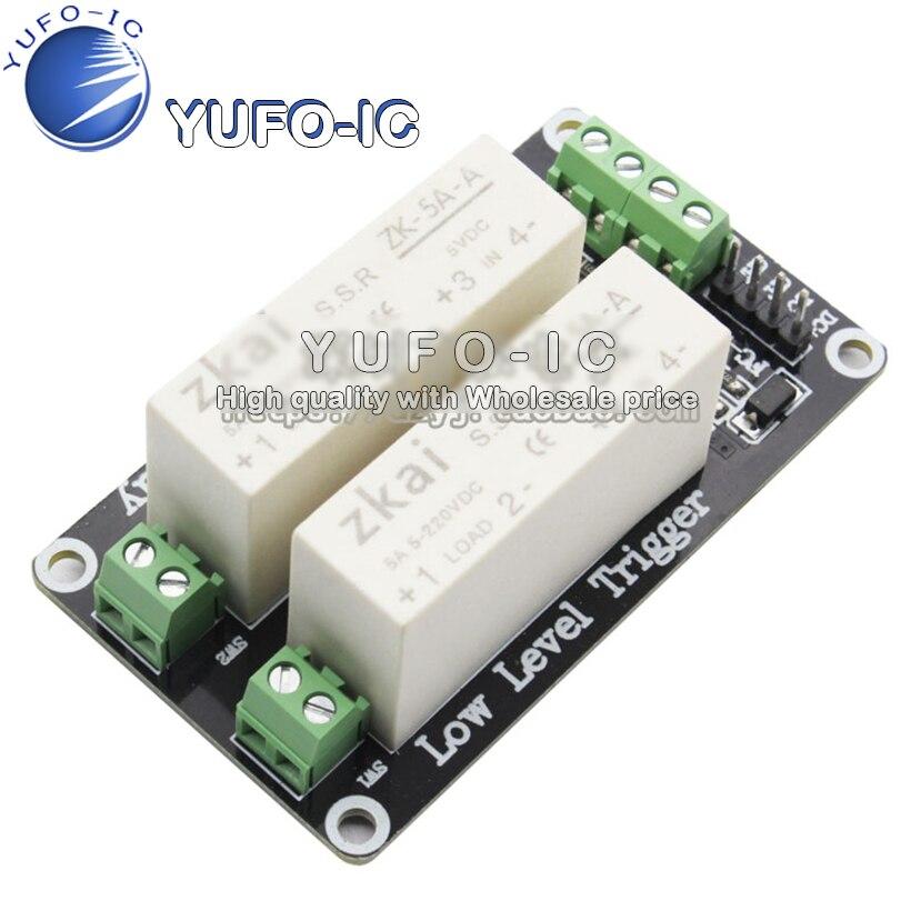 Módulo de relé de estado sólido con 2 canales de Bajo activador por flanco carga CC controlada 5A Módulo de tablero de Control de interruptor 5V