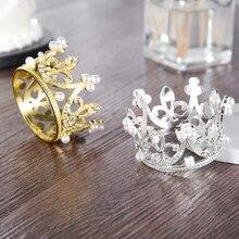 Gold Silber Acryl Crown Kuchen Topper Mädchen Metall Perle Headwear Glücklich Geburtstag Kuchen Topper Hochzeit Decorat