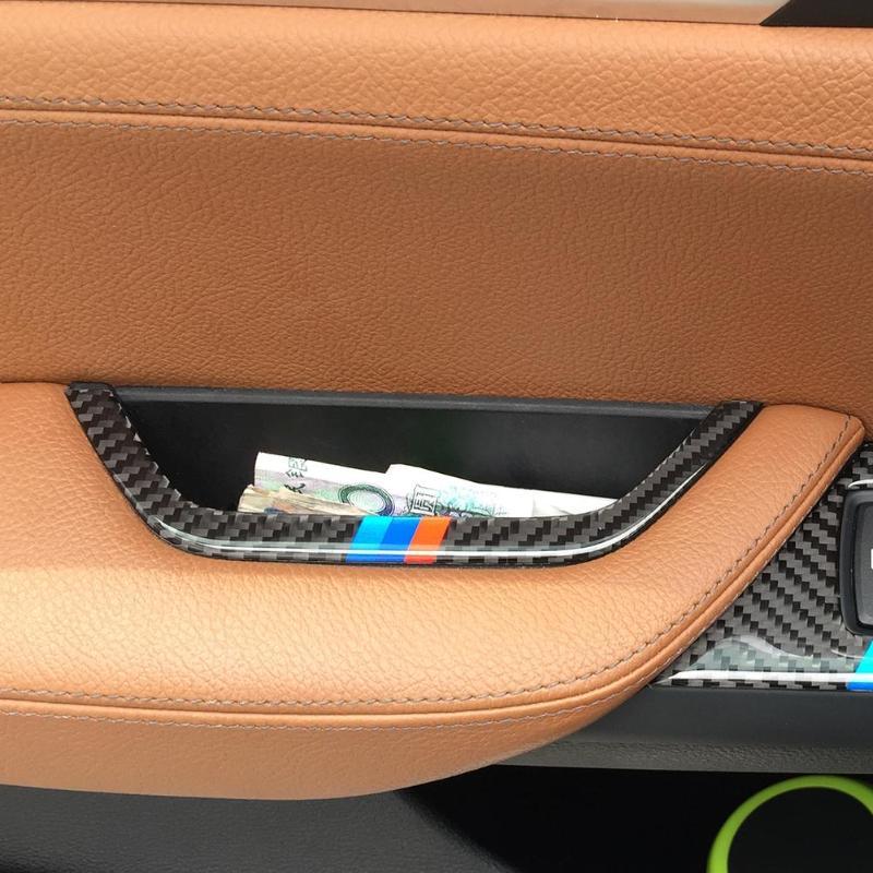VODOOL de fibra de carbono reposabrazos interior de puerta de coche caja de almacenamiento de moldura de cubierta de Marco etiqueta car styling decor para BMW X3 X4 F25 F26 11-17