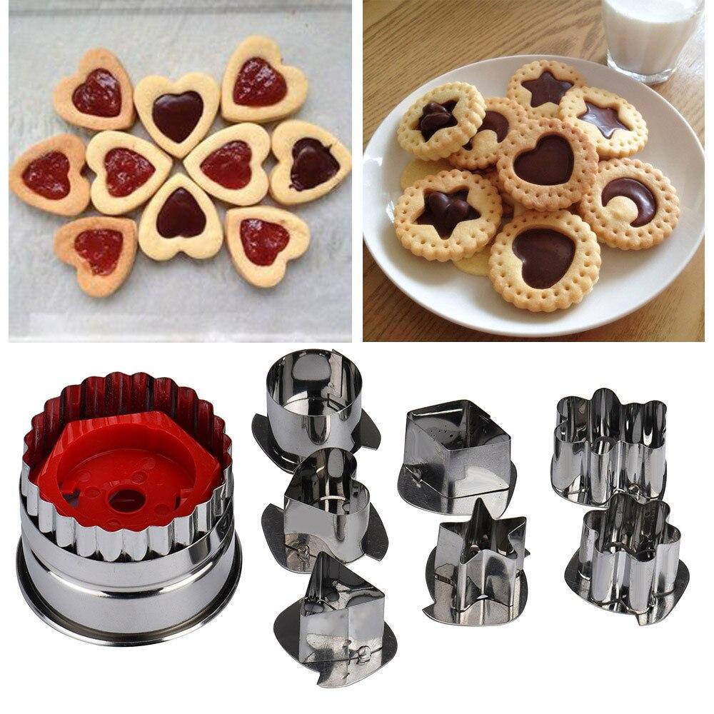 7 Pçs/lote Ferramentas Cookie Cutter Cenário Biscoito Fondant Cutte 3D Conjunto De Aço Inoxidável Cortador de Gingerbread Cookie Molde Do Bolo