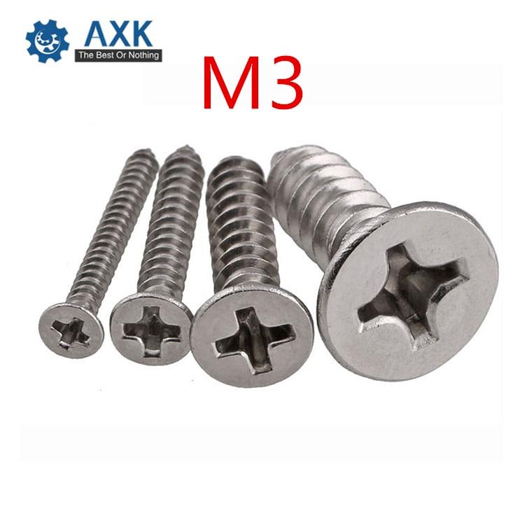 Tornillos de acero inoxidable empotrado en cruz AXK M3 DIN7982 304 tornillos de madera autorroscantes Phillips avellanados
