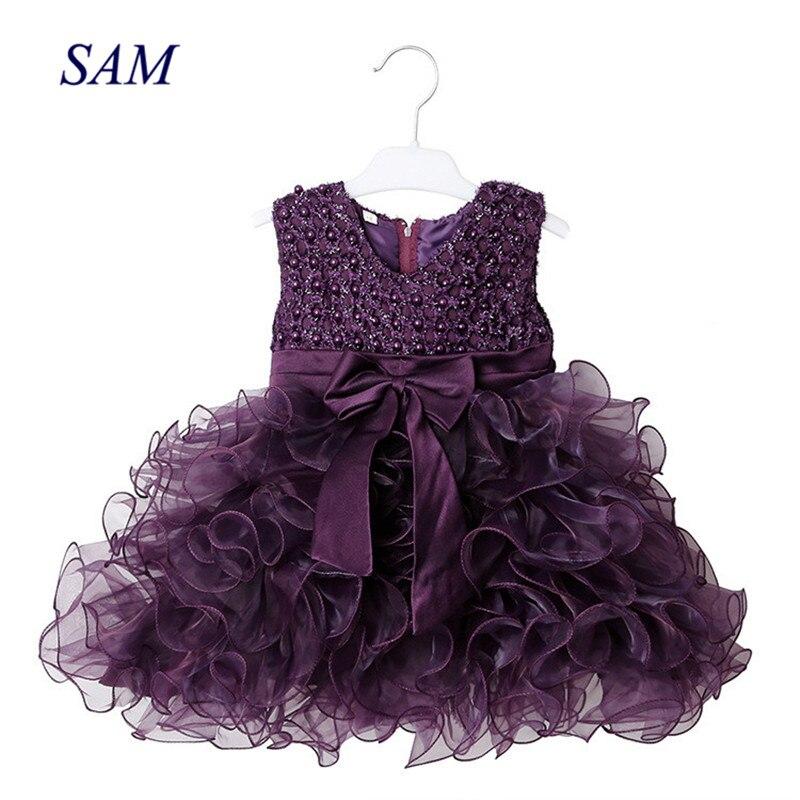Платье для девочек, многослойное платье в европейском и американском стиле с бантом, без рукавов, с жемчугом