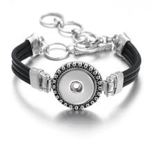 5pcs/lot Ginger Snap Bracelet Women Interchangeable Jewelry Fit 18mm Snap Button Vintage Snap Charms Crystal Bracelets & Bangles