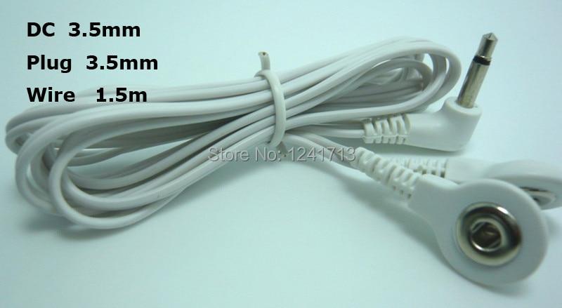 10 unids/lote DC Head 3,5mm 2 en 1 TENS unidad electrodo cables...