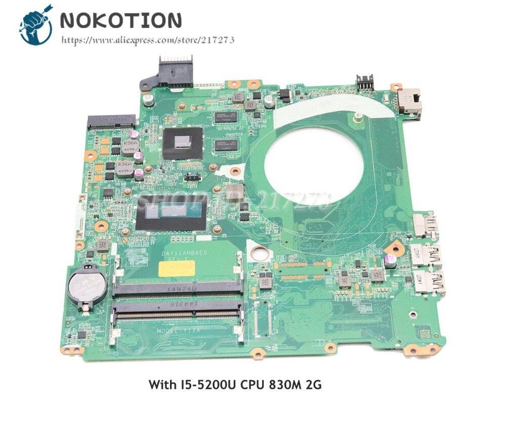 NOKOTION 782938-001 782938-501 محمول لوحة رئيسية لأجهزة HP جناح 15-P 15-P027TX الرئيسي مجلس DAY11AMB6E0 I5-5200U وحدة المعالجة المركزية 830M 2G