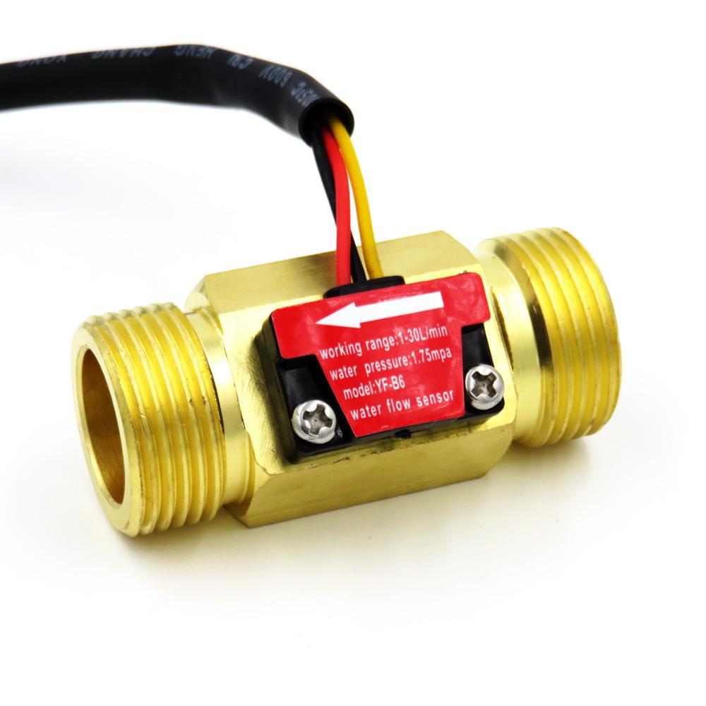 "YF-B6 isentrol hall efeito sensor de fluxo água 2-45l/min bsp g3/4 ""rosqueado fim conexão rápida 3% erro medidor de fluxo da turbina"