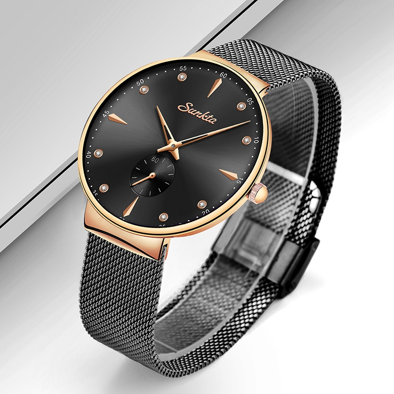 SUNKTA Rose Gold Black Women Quartz Watches Stainless Steel Ultra-thin Watch Women Fashion Luxury Brand Clock Female Dress Gift enlarge