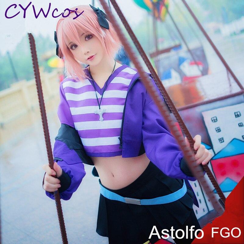 Fate/Apocrypha FGO Cosplay Astolfo disfraz diario de Cosplay trajes ropa deportiva abrigo + Camiseta + falda + Scoks + tocado