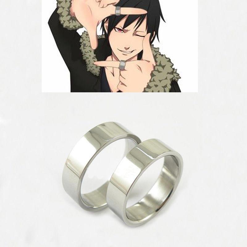Juego de 2 anillos de piezas Anime durarara orihara izaya titanio anillo de acero Cosplay