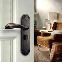 American Zinc Alloy Personal Protection Home Lock Black Gold Furniture Handle Door Locks For Bedroom Silent Indoor Locks