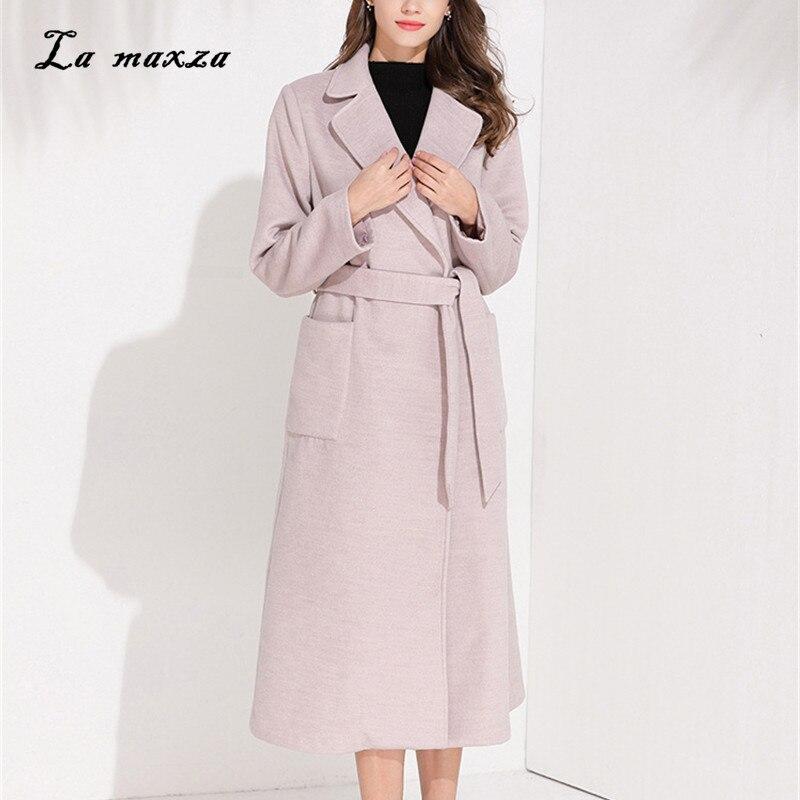 Women Winter Wool Long Coat 2020 Vintage Elegant Fashion Korean Style Winter Women Pink Coat