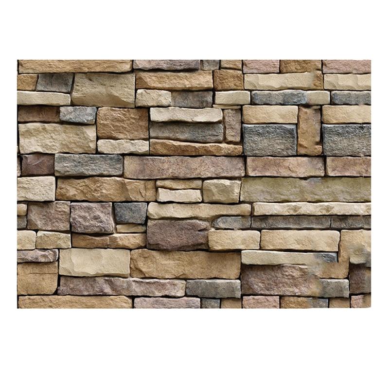 Adhesivo de pared 3D impermeable FONDO DE TV papel tapiz espuma diseño de ladrillo piedra de roca papel tapiz autoadhesivo 45*100 cm
