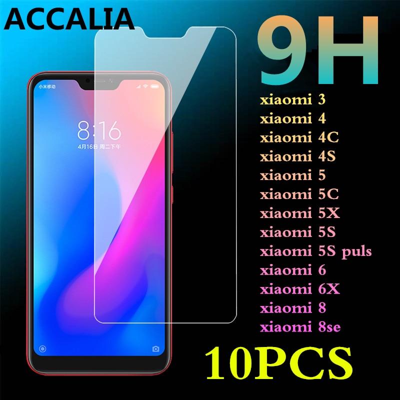 10Pcs 9H Tempered Glass for xiaomi 5 5C 5X 5S Puls Mi8 8se Mi 6 6X Film For Xiaomi 3 mi4 4C 4S 2.5D Phone Screen Protector Film