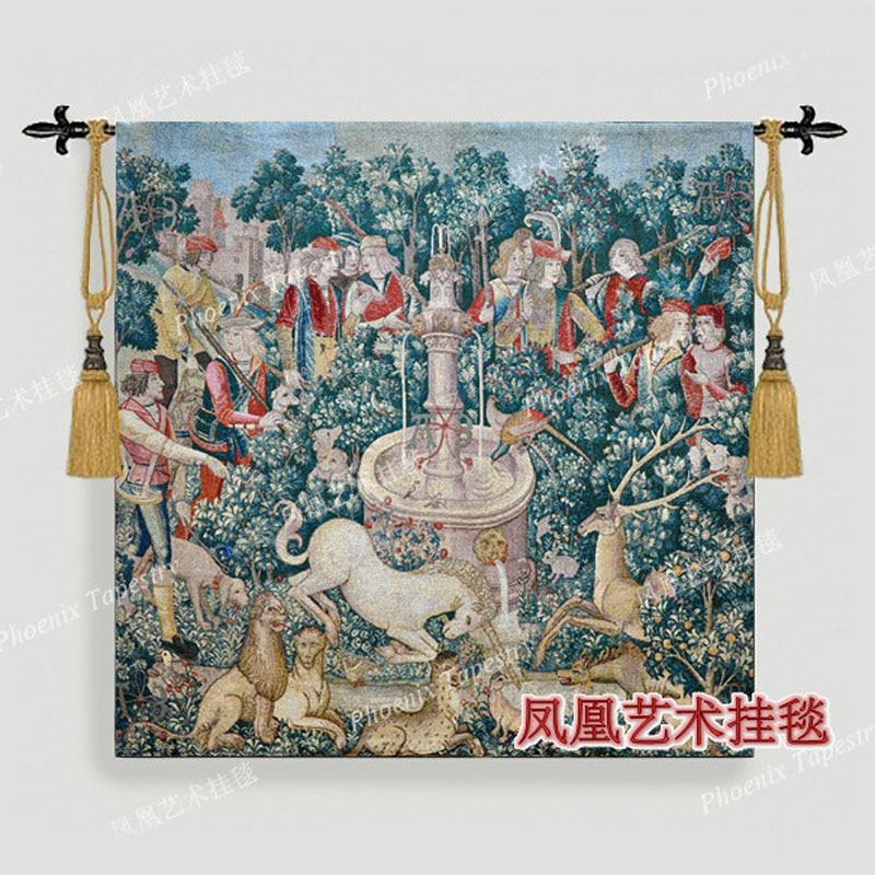 Tecido de Algodão Bela Tapeçaria Parede Pendurado Moda Casa Têxtil Decoração Macio Série-caça H124 136*140cm