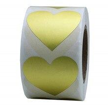 Étiquettes adhésives en papier or amour cœur   Étiquette adhésive naturelle, 1 pouce, pour paquet et décoration de mariage, 500 par rouleau