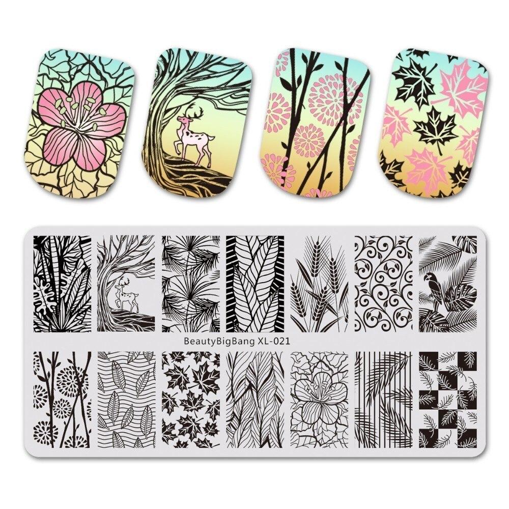 1 Uds. BeautyBigBang XL 021 Hojas de arce placas de uñas esténcil para estampado 3D molde estampado geométrico