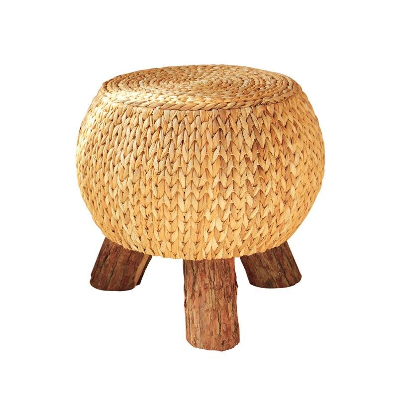 كرسي شاي من الخشب الصلب الطبيعي الإبداعي ، كرسي أريكة منسوج ، تغيير حذاء صغير ، مقعد متعدد الأغراض ، كرسي ترفيه ثابت