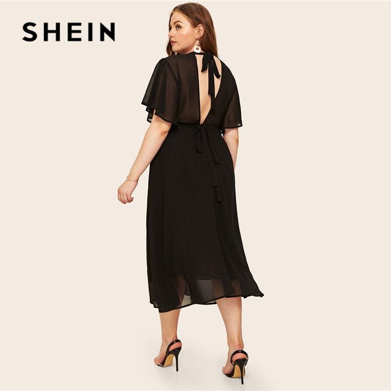 SHEIN Plus Size Black Tie Back Flutter Mouw Jurk 2019 Vrouwen Zomer Elegante Stand Kraag Hoge Taille EEN Lijn Plus lange Jurken