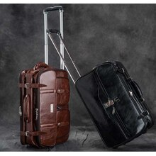 LeTrend Bruin Retro PU Lederen Reistassen Mannen Business Rolling Bagage Koffer Wielen 17 inch Cabine Trolley laptop tas