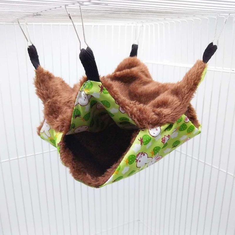 Hamak kafshësh shtëpiake kafshë të vegjël, shtrat i dyfishtë prej pelushi i butë dimri i varur nga foleja e ngrohtë e varur, kafshë shtëpiake