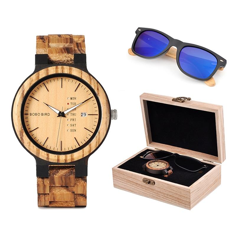 بوبو بيرد كلاسيك رجال خشب مصنوع حسب الطلب ساعة و نظارة شمس خشبية بدلة صندوق هدايا طقم هدايا لعيد الآباء