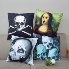 Housse de coussin en lin Style gothique   Coussin de tête de Style gothique, coussin pour canapé, horreur foncée, oreiller décoratif pour salle de séjour et lit, 45*45cm