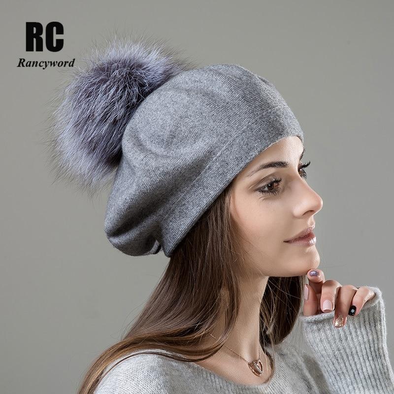 [Rancyword] boina para mujer, gorro de lana tejida, boinas de lana, gorro de boina con pompón de piel Real, gorros de invierno de alta calidad para mujer, gorros RC2047