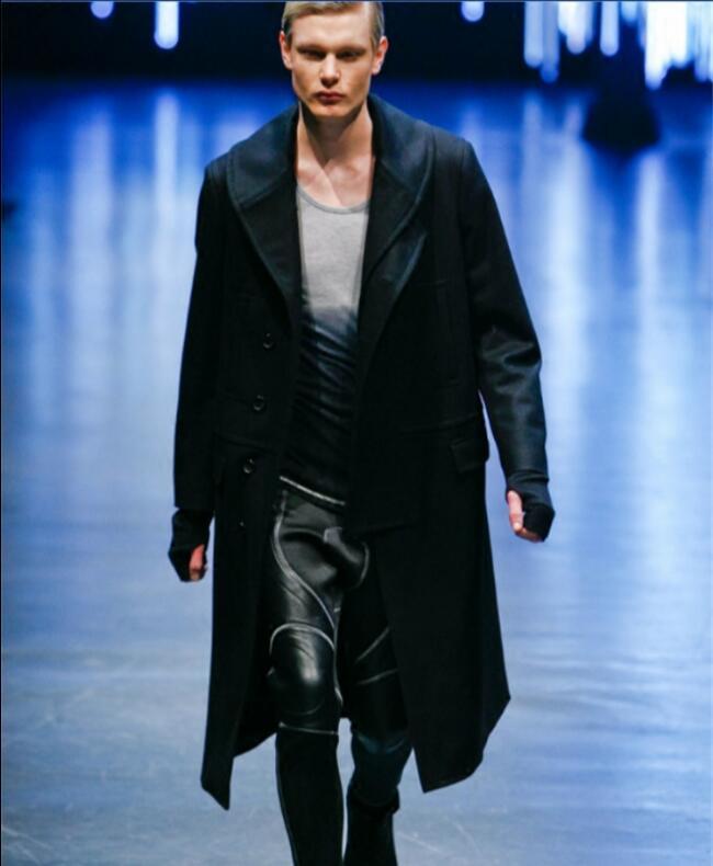 Nouveau trench chaud dautomne hiver pour les jeunes dans le long manteau de laine épaisse pour hommes sur le manteau de laine du genou. S-6XL!!