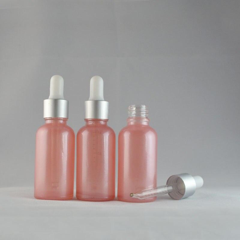 Livraison gratuite 10 pièces/lot flacon compte-gouttes en verre 30ml, flacon compte-gouttes en verre rose 30cc pour huile essentielle ou parfum