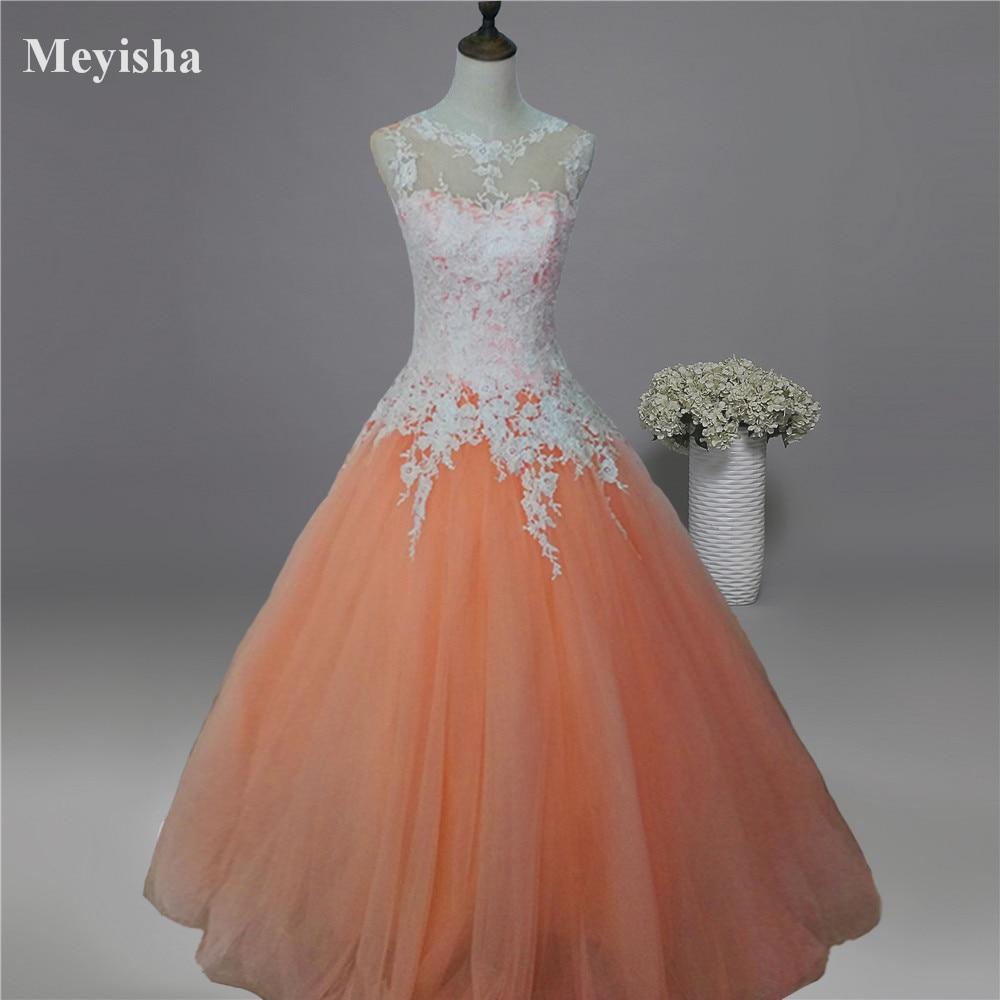 ZJ9036-C 2019 2020 جديد الأبيض العاج الشمبانيا الوردي البرتقال الدانتيل فستان الزفاف للعرائس زائد حجم ماكسي الرسمي ثوب حجم 2-26