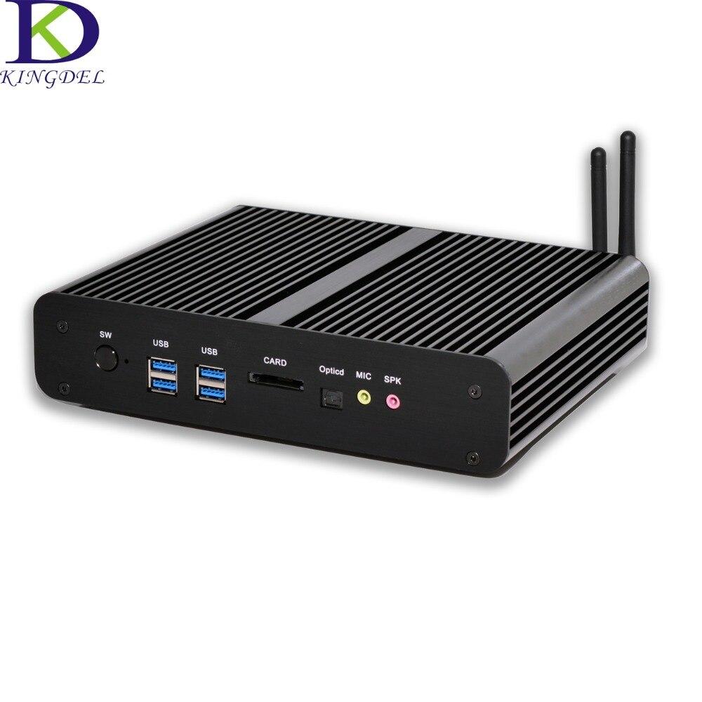 كمبيوتر مكتبي صغير Intel i7-4500u/i7-5500u/i7-5550u ، الجيل الخامس ، HD ، 4K ، 2x Gigabit LAN 2 HDMI SPDIF ، بدون مروحة ، سطح مكتب ، HTPC ، 4 منافذ USB 3.0