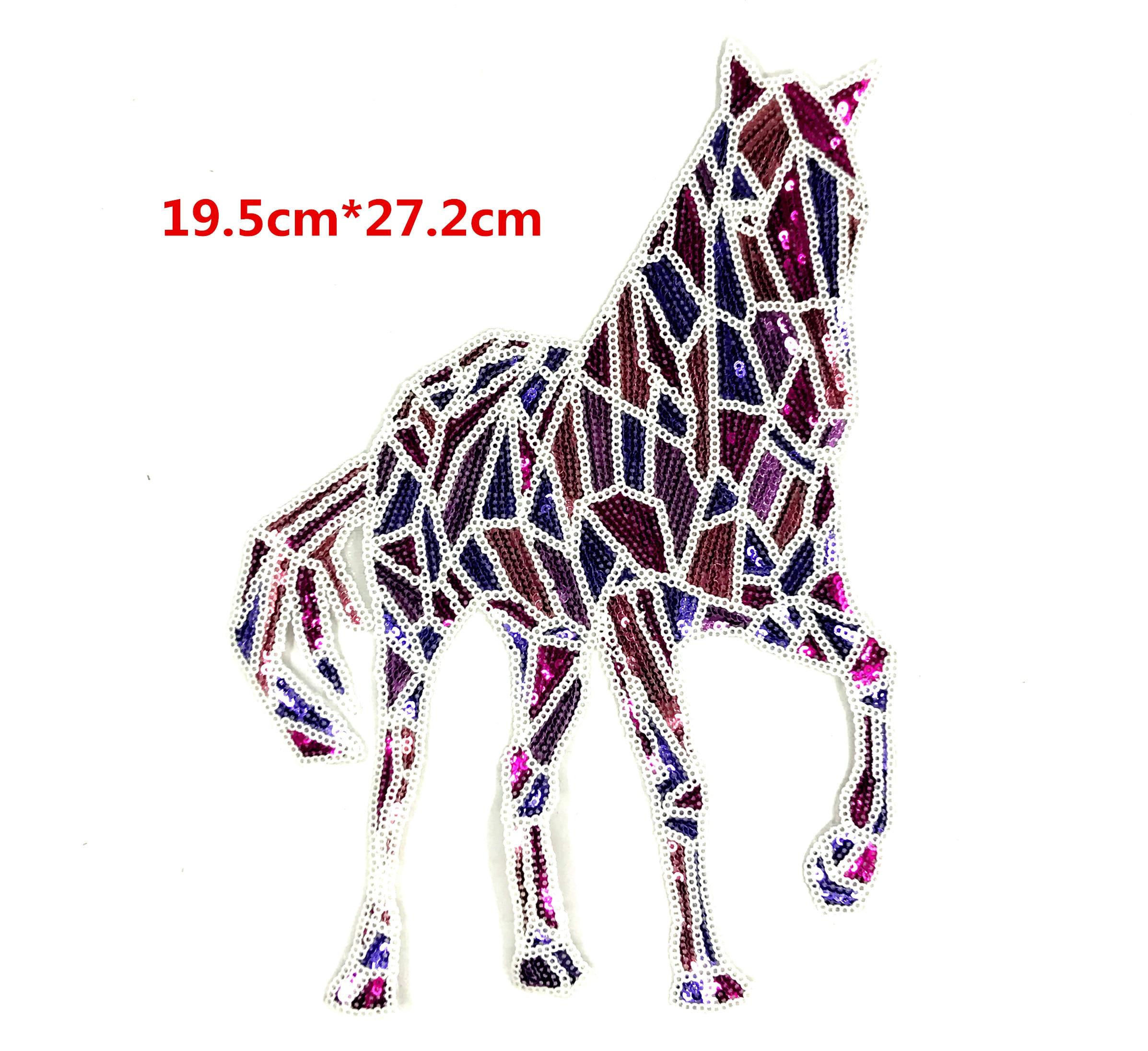 Geometría de colores caballo bordado encaje apliques de lentejuelas tela suéter parche para ropa pegatinas con lentejuelas camiseta diy decoratio