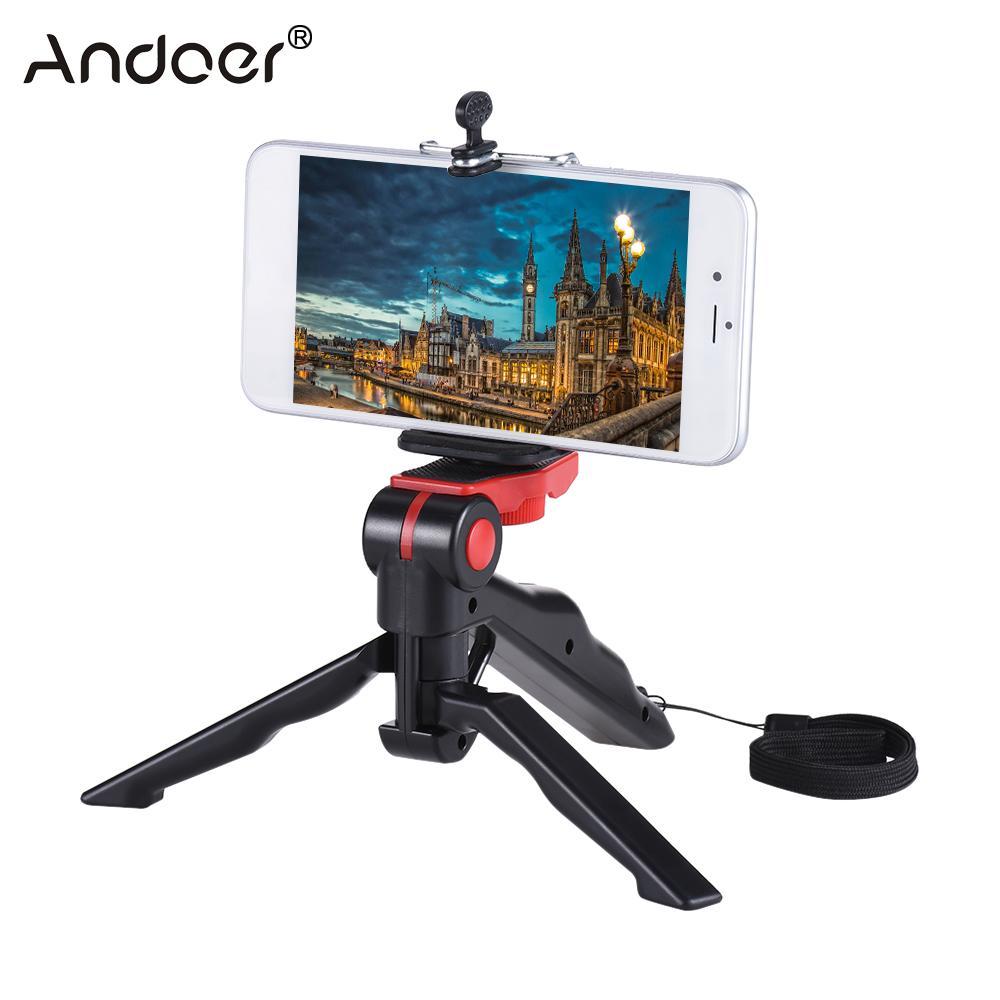 Mini trípode Andoer soporte base agarradera estabilizador de agarre de mano con soporte de Clip de teléfono inteligente para iPhone para Samsung Galaxy