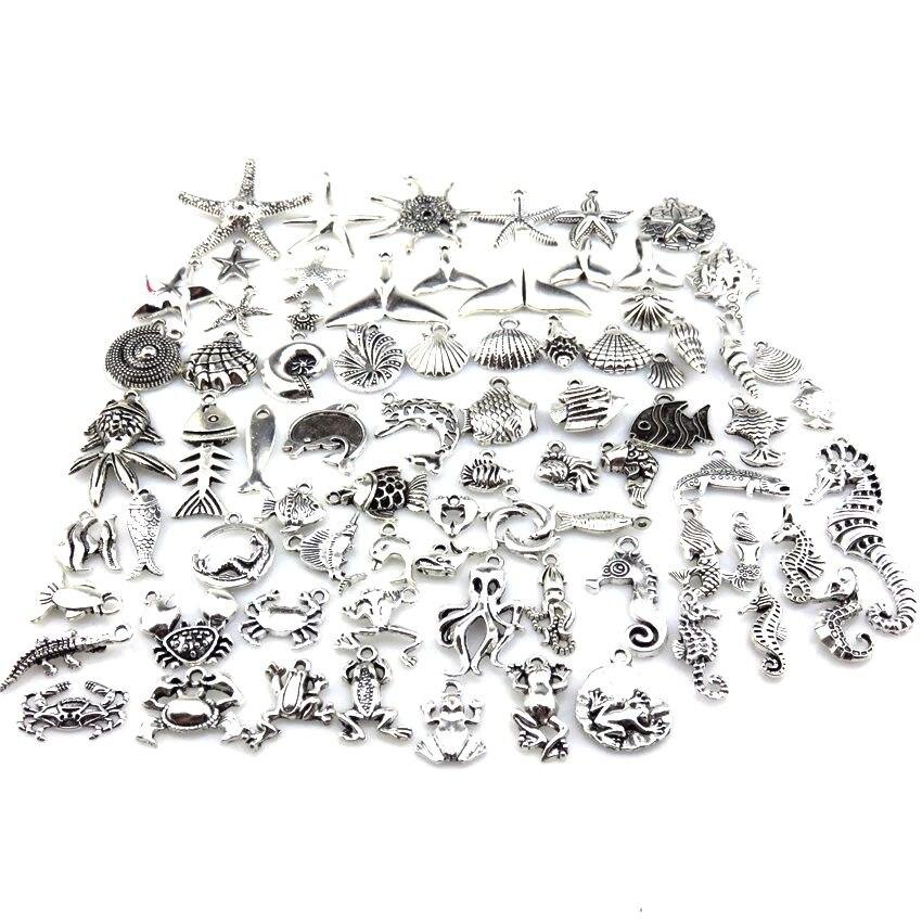 Pingente vintage de caranguejo, cavalo-marinho, polvo, sapo, joia para mulheres, crianças, colar, pulseira, brincos, fabricação de jóias, 21686