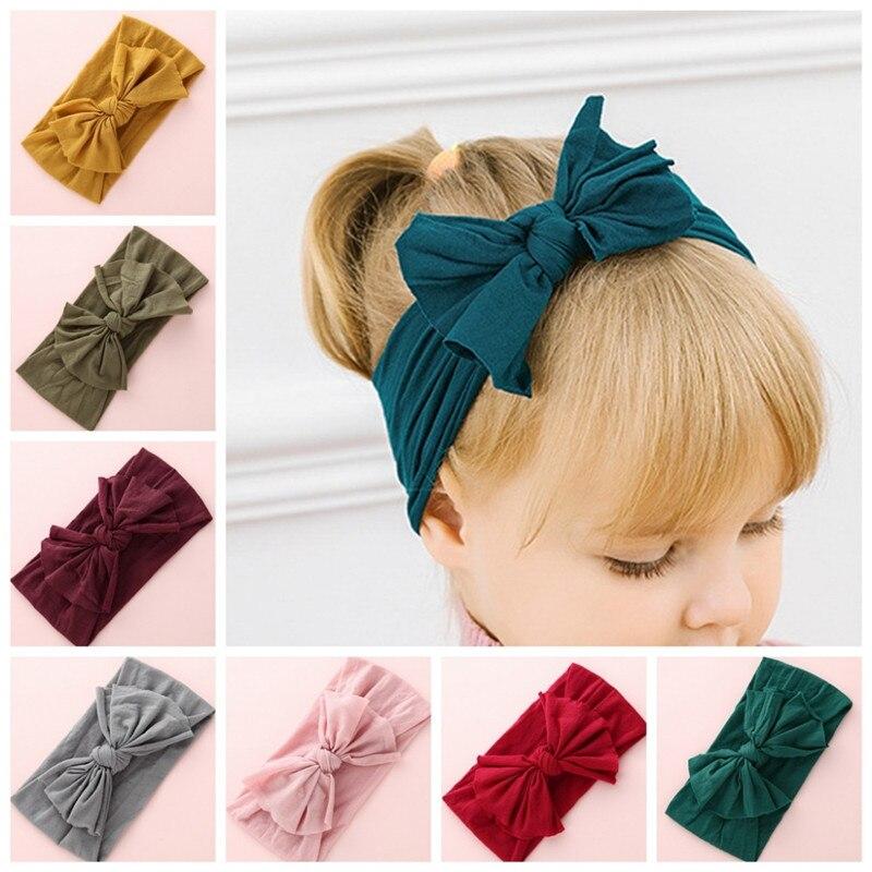 Nuevo Nylon sólido diadema arco diademas para lindo cabellos de niños niñas turbante diadema niños suave Diadema de algodón