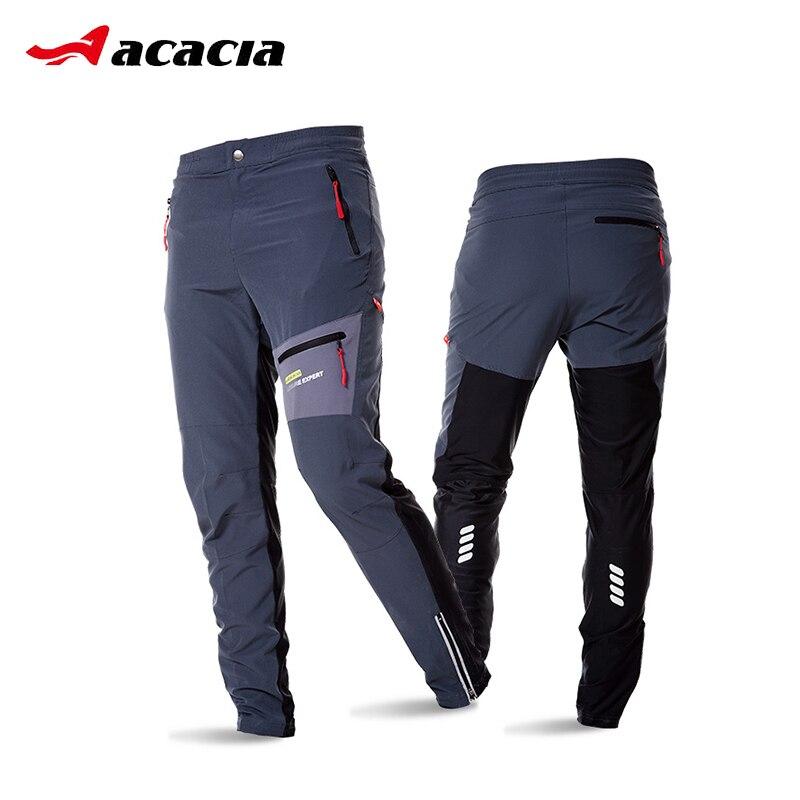 ACACIA negro gris transpirable suave bicicleta seguridad reflectante cintura elástica pantalones primavera otoño hombres ciclismo pantalones largos 02997