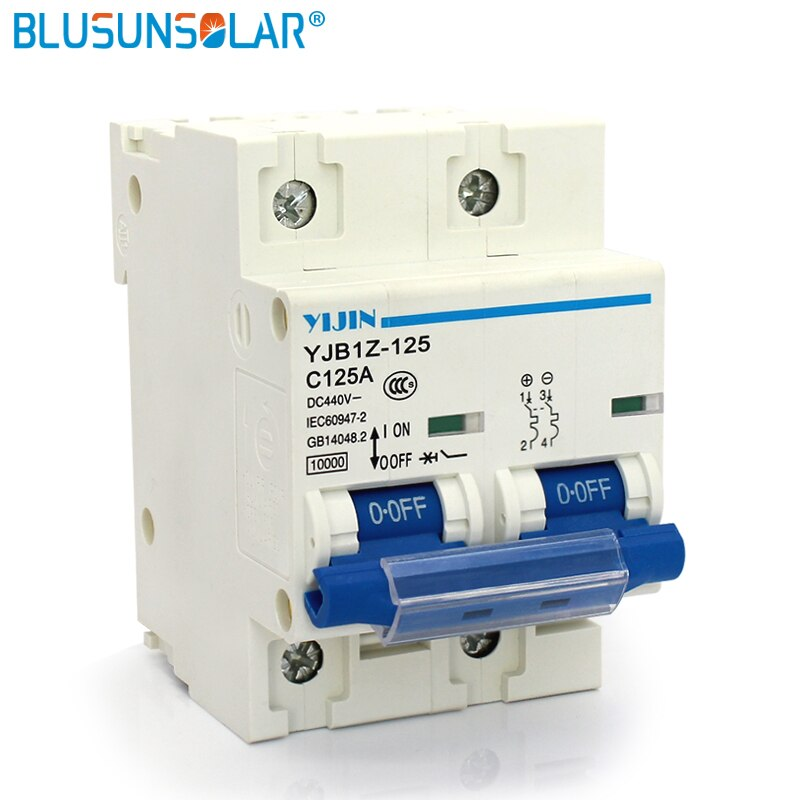 5 unids/lote sistema de energía Solar 2P 125A DC440V MCB de energía solar, fotovoltaicos PV Mini circuito de CC interruptor Solar fotovoltaica